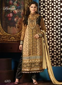 Brown And Black Faux Georgette Embroidery Work Churidar Suit