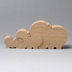 組み木 木のおもちゃ 『遊プラン』 KA110 | 3匹のカバ・M