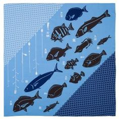 Large Blue Fish Japanese Furoshiki