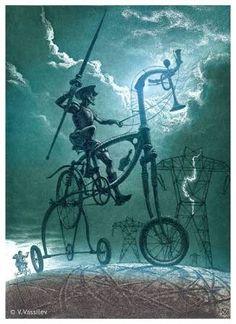 Vesselin VASSILEV - fine art intaglio prints, ex-libris Fantasy Landscape, Fantasy Art, Art Espagnole, Man Of La Mancha, Dom Quixote, Don Miguel, Classical Mythology, Spanish Art, Graphic Artwork