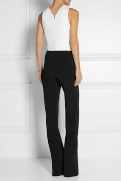Mugler | Two-tone cutout stretch-crepe jumpsuit | NET-A-PORTER.COM