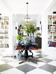 Bright entryway with zebra cowhide rug