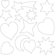 Templates for applique, various shapes, hearts, moon, stars
