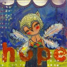 Mixed Media Painting  Hope 8 X 8 Inch Print of by juliettecrane, $25.00