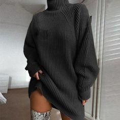 Winter Sweater Dresses, Long Sleeve Sweater Dress, Long Sleeve Turtleneck, Knit Sweater Dress, Loose Sweater, Winter Sweaters, Turtleneck Dress, Long Black Sweater, Black Sweater Dress