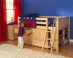 Low Loft Bed w/ Dresser. This could possibly solve our need for more dressers without taking up more room.