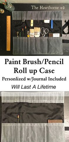 Handmade, personalizable, oilskin (waxed cotton) paintbrush wrap case (with pocket notebook included!) Pencil Case, Paintbrush Roll up. #affilate