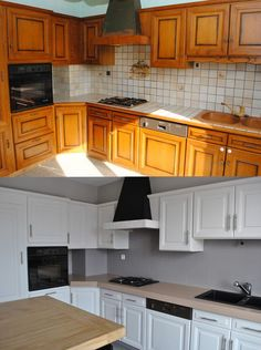 Bonjour... Lorsque que nous avons acheté notre appartement, la cuisine datait des années 80 et n'avait pas souvent été rénovée : Les meubles ont été poncé, lessivé puis 3 couches de peinture glycéro blanche satinée ont été nécessaire. Nous en avons profité...: