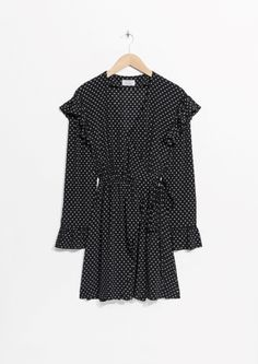 & Other Stories image 2 of Frill Wrap Dress in Dots No Frills, Polka Dot Top, Wrap Dress, Cool Outfits, Rompers, Stylish, Wraps, Glamour, Chic