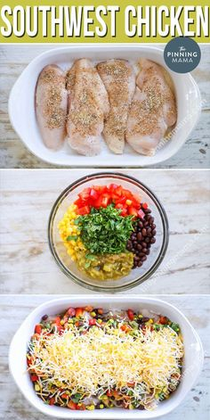 This Southwest Chicken is made with tender chicken breast, tons of veggies, and a delicious seasoning blend then baked in just one dish for an easy weeknight dinner with even easier clean up. We love this gluten free chicken recipe for weeknights and also Chicken Breast Recipes Dinners, Easy Chicken Recipes, Easy Dinner Recipes, Salmon Recipes, Veggie Dinners, Clean Dinners, Gluten Free Recipes With Chicken, Dinner Recipes For Two On A Budget, Gluten Free Dinners Easy