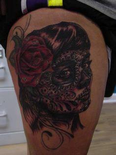 My Candy Skull Tattoo, by Faelan Wilson of 7Mag Tattoo