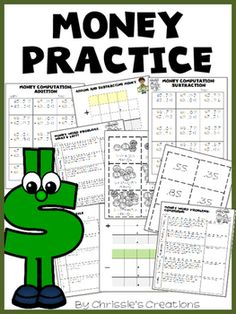 Money word problems and more is a great product to assist your students in learning about money and how to calculate totals.  This product includes: + 2 pages of addition word problems+ 2 pages of subtraction word problems+ Blank addition and subtraction template for writing in your own problems+ 3 digit graphic organizer+ 4 digit graphic organizer+ cards with coins+ cards with amounts+ 2 pages money computation addition+ 2 pages money computation subtraction+ computation answer sheetsand…