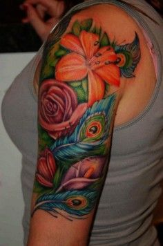peacock feather floral sleeve tattoo - Google Search