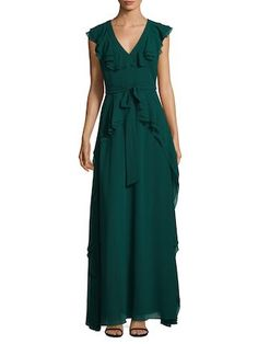 326478498a V-Neck Ruffled Gown by Badgley Mischka at Gilt