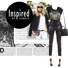 """""""inspired"""" by punnky on Polyvore Rock T-shirt, corseted fringe waist belt, Skinny sequined pants"""