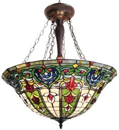 Chloe Lighting CH24A35G-UPD3 Tiffany-Style Victorian 3-Light Inverted Large Ceiling Pendant Fixture with 24-Inch Shade by Chloe Lighting. Save 40 Off!. $287.11. Hardwired glass. 100-watt Type A Bulb. Tiffany-glass, bronze finish zinc-alloy base, 161 cabochons. Tiffany style Victorian design inverted hanging pendant w/bronze finish. 24-Inch diameter x 22-Inch tall and uses 3x60W medium base bulbs. Not included. Colors: Shades of green, beige, blue and gold with red jewels.