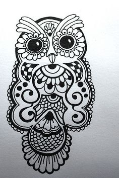 ink drawing of a henna-type owl design: paper product for a baby shower. #owl #henna #ink: