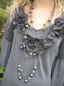 Long tiered necklace with grey pearls and smoked crystals. Awesomeness. www.ever-designs.com