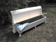 old headboard turned into a bench with storage