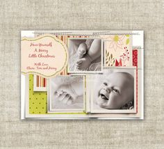 """christmas card holiday greetings family picture card #baby's-first-christmas  """"have yourself a merry little christmas""""  @Cardtopia Designs"""