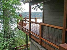 Outdoor Stair Railing, Deck Railing Design, Deck Stairs, Deck Railings, Deck Design, Pergola Patio, Pergola Ideas, Deck Railing Ideas Diy, Cable Railing
