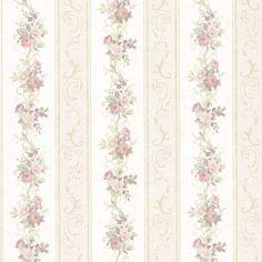 Vintage Rose englische Landhaus Satintapeten Blumen Streifen Art.-Nr.: 68303