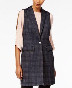 ace856f28f10c NY Collection Plaid Vest - Jackets - Women - Macy s Plaid Vest Women