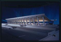 Model : Dulles International Airport, Chantilly Virginia (1958-63) | Eero Saarinen | Expanded by Skidmore, Owings & Merrill (1998-2000) | Photo : Balthazar Korab