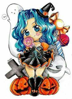 Sailor Moon Stars, Sailor Chibi Moon, Sailor Neptune, Sailor Uranus, Sailor Moon Halloween, Happy Halloween, Moon Illustration, Sailor Scouts, Moon Art