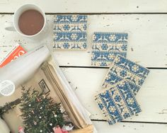 Nordic Wooden Coasters Wood Coasters Christmas Decor by SCWVintage