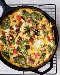 Seasonal Breakfast Frittata Recipe - I used Colby Jack cheese w/sour cream & milk (I didn't have heavy cream)  I topped w/fresh cilantro. really good - Joey even liked it