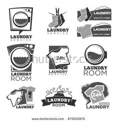 Laundry service or laundromat vector labels templates of washing machine soap bubbles