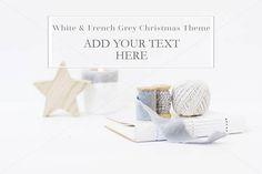 Xmas Styled Stock Photo White & French Grey Christmas Theme