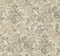 Wallpaper By The Yard - Antiqued Distressed Charcoal Scrolling Damask - Aged, Worn, Old, Floral Scroll, Black, Gray, White - AR27018