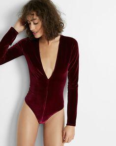 d114db85c7 This velvet thong-cut bodysuit gives you a dramatic deep v neckline. Pair it