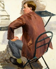 """Twentieth Century British Art by Richard Carline: """"Study of Richard Hartley for Gathering on the Terrace"""" New Objectivity, British English, English Artists, Figure Painting, The Twenties, Oil On Canvas, Terrace, Male Portraits, Study"""