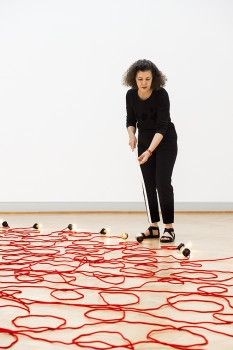 Mona Hatoum working on a sculpture. ANDRI POL