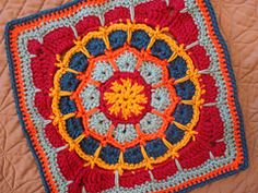 A mandala… square? Yes! I recently had a request come in asking me to turn the Magic Spike Mandala into an afghan square. I thought it was a great idea. Here's the result!