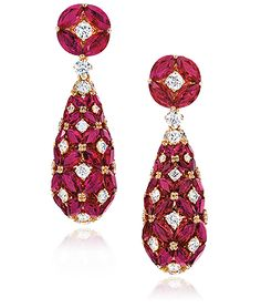Ruby and diamond earrings,  Cellini Jewelers