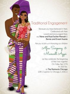 8 beautiful African wedding invitations by Bibi Invitations. Featuring drawings representing countries such as Nigeria, South Africa, Ghana and more. Igbo Wedding, Ghana Wedding, Wedding Ceremony, Wedding Hijab, Wedding Programs, Wedding Cards, Ghana Traditional Wedding, Traditional Wedding Dresses, Engagement Invitation Cards