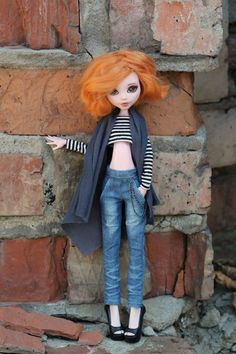 Boyfriend fit jeans with pockets for Monster High doll 1/6 size