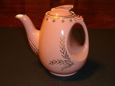 Vintage Hall Pink Teapot with Silver Fern Decoration.