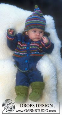 Jacket, hat and socks with borders in Alpaca - Free pattern by DROPS Design Baby Knitting Patterns, Baby Boy Knitting, Knitting For Kids, Baby Patterns, Knitting Projects, Hand Knitting, Crochet Baby Clothes Boy, Crochet Baby Sweaters, Knitted Hats