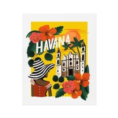 This Rifle Paper Co.® art print is created from an original gouache painting of Havana by Anna Bond. This print is perfect if you yearn to travel or want to fondly remember your last trip. Each print is archival printed on natural white cover paper. Anna Bond, Art Encadrée, Gallery Frames, White Wall Art, Print Calendar, Rifle Paper Co, Gouache Painting, Leaf Art, Letter Wall