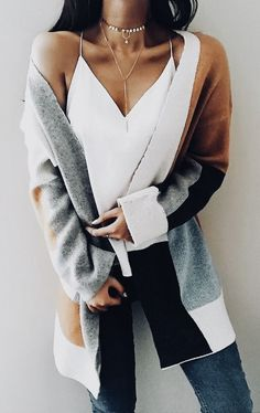 Knit Multi color Long Sleeve Cardigan Sweater knits outfits for fall and winter boyfriend style for women Mode Outfits, Fall Outfits, Casual Outfits, Fashion Outfits, Fashion Trends, Fashion Lookbook, Fasion, Fashion Ideas, Women's Casual