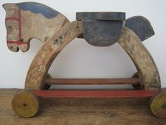 19th Century Orig Red White Blue Paint Wood Child Toy Horse Primitive Find  | eBay  sold    233.00     ~♥~