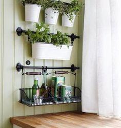 """Ikea 3 Rails 31"""" + 10 Hook + Cutlery Caddy + Condiment Stand + Dish Drainer + Basket Kitchen Storage Organizer Set Fintorp"""