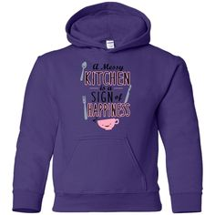 A MESSY KITCHEN IS A SIGN OF HAPPINESS LONG SLEEVE SHIRT G185B Gildan Youth Pullover Hoodie
