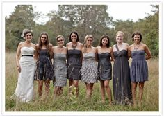 grey bridesmaid dresses, love the different shades