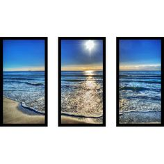 """PicturePerfectInternational 'Small Waves by the Shore' 3 Piece Framed Photographic Print Set Size: 33.5"""" H x 52.5"""" W x 1"""" D"""